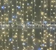 Светодиодный занавес 2x3м - 600 LED мерцание белым (pvc прозрачный)