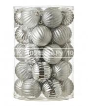 Набор серебристых шаров 7 см, 34 шт.