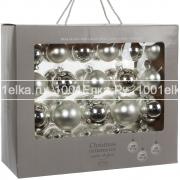 Набор серебристых шаров 7 - 6 - 5 см, 42 шт.