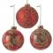 Набор красных (с золотистыми узорами) шаров 8 см, 12 шт.