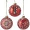 Набор красных (с белыми узорами) шаров 8 см, 12 шт.