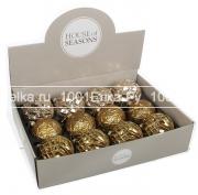Набор золотистых шаров 8 см, 12 шт.