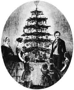 Британская Королевская семья с рождественским деревом на гравюре  «Illustrated London News»