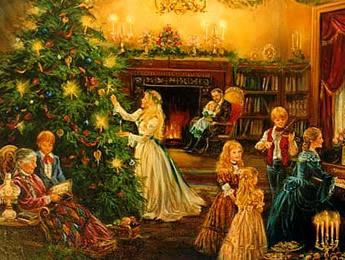 Викторианская семья рядом с рождественской елкой